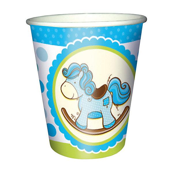 Патибум Стаканы ПатибумЛошадка. Малыш 250 мл., бумажные 6шт., голубые патибум стаканы патибум праздничный торт 250 мл 6 шт