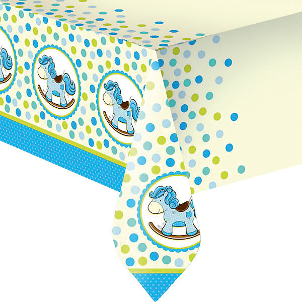 Патибум Скатерть Лошадка. Малыш полиэтиленовая, 140х180 см., голубая