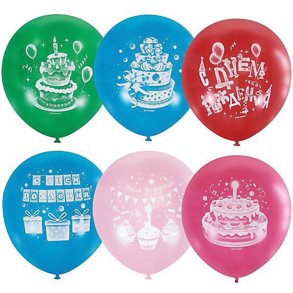 Latex Occidental Воздушные шары Latex Occidental Торт с днём рождения 50 шт., пастель + декоратор action шары воздушные с днем рождения 30 см 50 шт