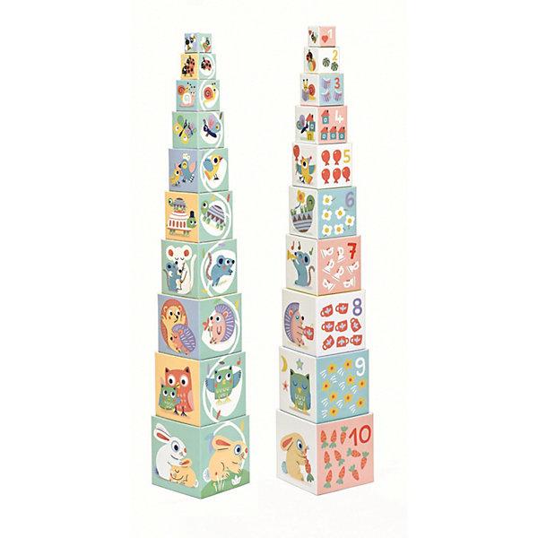 Кубики-пирамидка Djeco БлокиКубики<br>Характеристики товара:<br><br>• возраст: от 1 года;<br>• количество деталей: 10 шт;<br>• материал: картон;<br>• размер упаковки: 15х15х15 см;<br>• вес упаковки: 900 гр.;<br>• страна бренда: Франция.<br><br>Djeco Кубики-пирамидка Блоки помогают детям с раннего возраста развивать воображение, фантазию и коммуникативные навыки. Во время игры с кубиками у ребенка развивается мелкая моторика, логическое мышление, малыши учатся считать. <br><br>Кубики сделаны из плотного картона, они легкие, ребенок не сможет ими пораниться. Игрушка выполнена из качественных материалов, безопасных для здоровья ребенка, не вызывающих аллергии. <br><br>Djeco Кубики-пирамидка Блоки  можно купить в нашем интернет-магазине.<br>Ширина мм: 150; Глубина мм: 150; Высота мм: 150; Вес г: 730; Возраст от месяцев: 12; Возраст до месяцев: 2147483647; Пол: Унисекс; Возраст: Детский; SKU: 7772119;