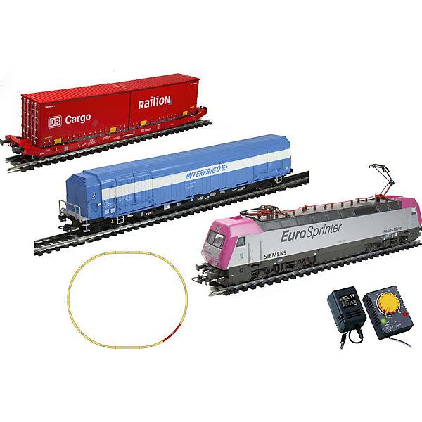 Электровоз Mehano Eurosprinter Magneta с вагонами T214 и T216Железные дороги<br>Характеристики:<br><br>• регулирование скорости движения ж/д состава;<br>• полный привод;<br>• обе оси ведущие – как передняя, так и задняя;<br>• рабочий металлический пантограф;<br>• световые эффекты: свет фар, габаритные огни;<br>• игрушка работает от сетевого адаптера 220 вольт;<br>• масштаб 1:87;<br>• размер ж/д полотна в собранном виде: 117,5х95,5 см;<br>• ширина колеи 16,5 мм;<br>• материал: металл;<br>• размер упаковки: 64х38,5х34,5 см.<br><br>Игрушечная железная дорога Eurosprinter Magneta представляет собой миниатюрную копию существующих и использующихся электровоза и вагончиков. Внешняя оболочка локомотива и вагонов с тщательно проработанным дизайном позволяет изучить комплектующие части поезда. Все элементы комплекта совместимы с другими сборными моделями железной дороги Mehano. Можно увеличить протяженность железнодорожного полотна, комбинируя элементы рельс между собой. <br><br>Комплектация игрового набора Mehano «Eurosprinter Magneta» с вагонами T214 и T216: <br><br>• 1 локомотив Siemens, 1 вагон рефрижератор, 1 вагон платформа с 2-мя контейнерами;<br>• 11 радиальных рельс;<br>• 1 рельса контактер;<br>• 2 прямые рельсы;<br>• блок питания + контроллер;<br>• подробная инструкциями по сборке и управлению (с иллюстрациями).<br><br>Электровоз Mehano «Eurosprinter Magneta» с вагонами T214 и T216 можно купить в нашем интернет-магазине.<br>Ширина мм: 500; Глубина мм: 405; Высота мм: 65; Вес г: 1700; Цвет: розовый/розовый; Возраст от месяцев: 72; Возраст до месяцев: 2147483647; Пол: Унисекс; Возраст: Детский; SKU: 7772147;