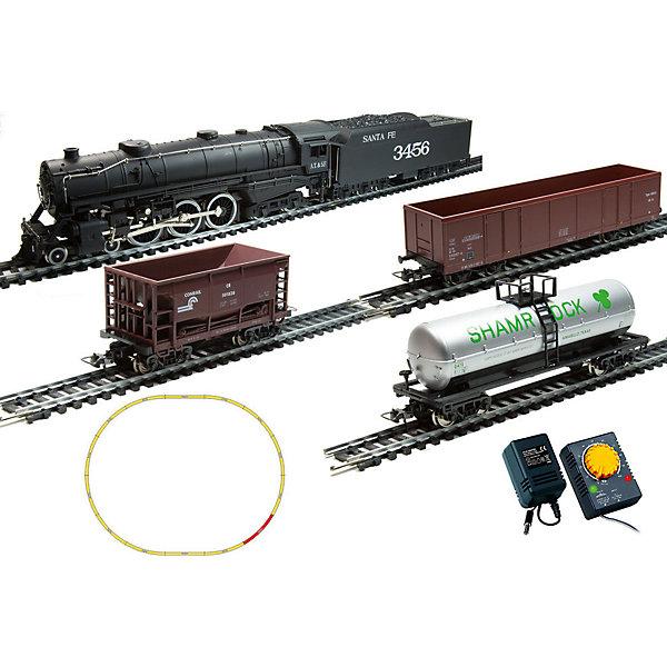Стартовый набор Mehano Паровоз Hudson, с 3 вагонамиЖелезные дороги<br>Характеристики:<br><br>• регулирование скорости движения ж/д состава;<br>• полный привод;<br>• обе оси ведущие – как передняя, так и задняя;<br>• рабочий металлический пантограф;<br>• паровоз с тендером подготовлен для установки дымогенератора;<br>• световые эффекты: свет фар, габаритные огни;<br>• игрушка работает от сетевого адаптера 220 вольт;<br>• масштаб 1:87;<br>• размер ж/д полотна в собранном виде: 117,5х95,5 см;<br>• ширина колеи 16,5 мм;<br>• материал: металл;<br>• размер упаковки: 64х38,5х34,5 см.<br><br>Игрушечная железная дорога Mehano является миниатюрной копией грузового состава. Тщательно проработанные детали паровозов, тепловозов и грузовых вагонов позволяют изучить рельефные линии экстерьера состава. Элементы игровых наборов Mehano совместимы между собой, при желании железнодорожное полотно можно расширить, установить стрелки и перекрестки, дополнить объект элементами ландшафта. <br><br>Комплектация игрового набора Mehano «Паровоз Hudson»: <br><br>• 1 паровоз со светом;<br>• 3 грузовых вагона различной конфигурации (в ассортименте);<br>• 11 радиальных рельс;<br>• 1 рельса контактер;<br>• 2 прямые рельсы;<br>• блок питания + контроллер;<br>• подробная инструкциями по сборке и управлению (с иллюстрациями).<br><br>Стартовый набор Mehano «Паровоз Hudson», с 3 вагонами можно купить в нашем интернет-магазине.<br>Ширина мм: 500; Глубина мм: 405; Высота мм: 65; Вес г: 1700; Цвет: черный; Возраст от месяцев: 72; Возраст до месяцев: 2147483647; Пол: Унисекс; Возраст: Детский; SKU: 7772153;
