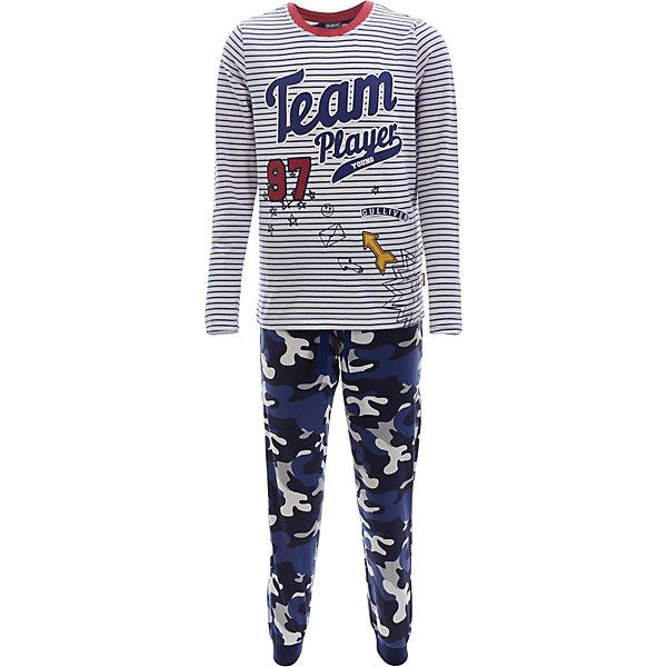 Пижама Gulliver для мальчикаПижамы и сорочки<br>Характеристики товара:<br><br>• цвет: синий/белый;<br>• состав ткани: 95% хлопок, 5% эластан;<br>• сезон: круглый год;<br>• в комплекте: лонгслив и штаны;<br>• брюки на резинке с шнурком-завязкой;<br>• кофта с длинными рукавами;<br>• декорирована принтом;<br>• страна бренда: Россия.<br><br>Белье для мальчика должно быть красивым и качественным! Пижама для мальчика с оригинальным принтом - прекрасное решение для интересной вечерней сказки, комфортного сна и счастливого пробуждения. Мягкая, нежная, с оригинальным печатным рисунком и интересными деталями, детская пижама от Gulliver подчеркнет уютную домашнюю атмосферу и создаст отличное настроение.<br><br>Пижаму Gulliver (Гулливер) можно купить в нашем интернет-магазине.<br>Ширина мм: 281; Глубина мм: 70; Высота мм: 188; Вес г: 295; Цвет: белый; Возраст от месяцев: 24; Возраст до месяцев: 36; Пол: Мужской; Возраст: Детский; Размер: 98/104,158/164,146/152,134/140,122/128,110/116; SKU: 7788717;