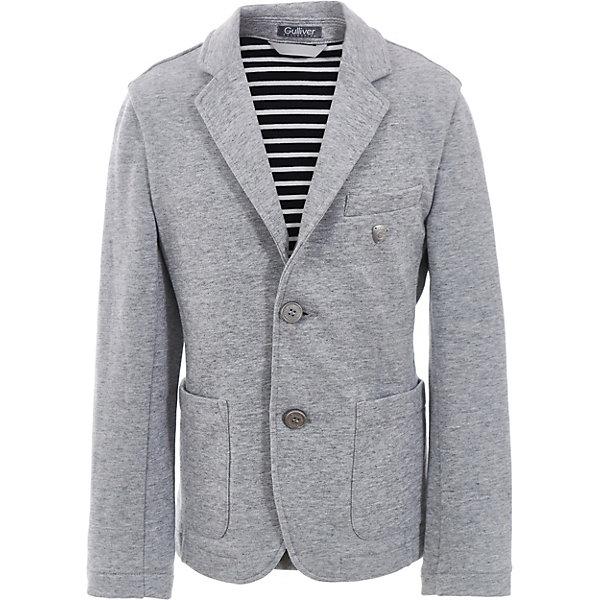 Пиджак Gulliver для мальчикаПиджаки и костюмы<br>Характеристики товара:<br><br>• цвет: серый;<br>• состав ткани: 100% хлопок;<br>• сезон: круглый год;<br>• застёжка: пуговицы;<br>• манжеты рукавов на пуговицах;<br>• пиджак без подкладки;<br>• подкладка контрастного цвета;<br>• усиленные налокотники на рукавах;<br>• три кармана;<br>• коллекция: Островитянин;<br>• страна бренда: Россия.<br><br>Пиджак без подкладки, с модными налокотниками и красивой внутренней обработкой, бесспорно, украсит весенний гардероб ребенка, сделав его современным и элегантным. И в будни, и в праздники, пиджак - стилеобразующий элемент образа. С брюками, джинсами, шортами пиджак будет смотреться безупречно, выделяя своего обладателя из толпы сверстников. Пиджак хорошо держит форму, прост в уходе, практичен.<br><br>Пиджак Gulliver (Гулливер) можно купить в нашем интернет-магазине.<br>Ширина мм: 356; Глубина мм: 10; Высота мм: 245; Вес г: 519; Цвет: серый; Возраст от месяцев: 72; Возраст до месяцев: 84; Пол: Мужской; Возраст: Детский; Размер: 122,140,134,128; SKU: 7789870;