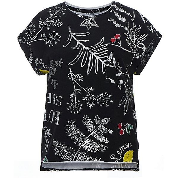 Футболка Gulliver для девочкиФутболки, поло и топы<br>Характеристики товара:<br><br>• цвет: чёрный;<br>• состав ткани: 95% хлопок, 5% эластан;<br>• сезон: лето;<br>• с коротким рукавом;<br>• округлый горловой вырез;<br>• футболка с рисунком;<br>• коллекция: Ягодная вечеринка;<br>• страна бренда: Россия.<br><br>Интересный принт, имитирующий рисунок мелом на графитовой доске, делает эту футболку для девочки яркой и запоминающейся. Черная орнаментальная футболка - свежая необычная модель, которая может стать основой стильного летнего гардероба подростка.<br><br>Футболку Gulliver (Гулливер) можно купить в нашем интернет-магазине.<br>Ширина мм: 199; Глубина мм: 10; Высота мм: 161; Вес г: 151; Цвет: черный; Возраст от месяцев: 120; Возраст до месяцев: 132; Пол: Женский; Возраст: Детский; Размер: 146,164,158,152; SKU: 7789971;