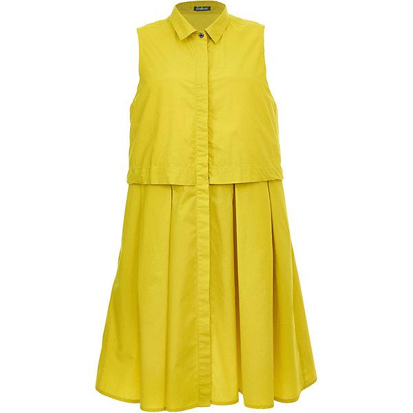 Платье Gulliver для девочкиПлатья и сарафаны<br>Характеристики товара:<br><br>• цвет: жёлтый;<br>• состав ткани: 100% хлопок;<br>• подкладка: 100% хлопок;<br>• застёжка: пуговицы;<br>• платье-рубашка без рукавов;<br>• длина: миди;<br>• трапециевидный силуэт;<br>• низ платья в складку;<br>• коллекция: Ягодная вечеринка;<br>• страна бренда: Россия.<br><br>Очаровательное платье-рубашка без рукавов легкого трапециевидного силуэта. Платье смотрится потрясающе и, наверняка, понравится девочке-подростку, которая хочет быть в тренде! Оригинальный дизайн и солнечный цвет не позволят затеряться в толпе, сделав образ ребенка ярким и оригинальным.<br><br>Платье Gulliver (Гулливер) можно купить в нашем интернет-магазине.<br>Ширина мм: 236; Глубина мм: 16; Высота мм: 184; Вес г: 177; Цвет: желтый; Возраст от месяцев: 132; Возраст до месяцев: 144; Пол: Женский; Возраст: Детский; Размер: 152,146,164,158; SKU: 7789996;