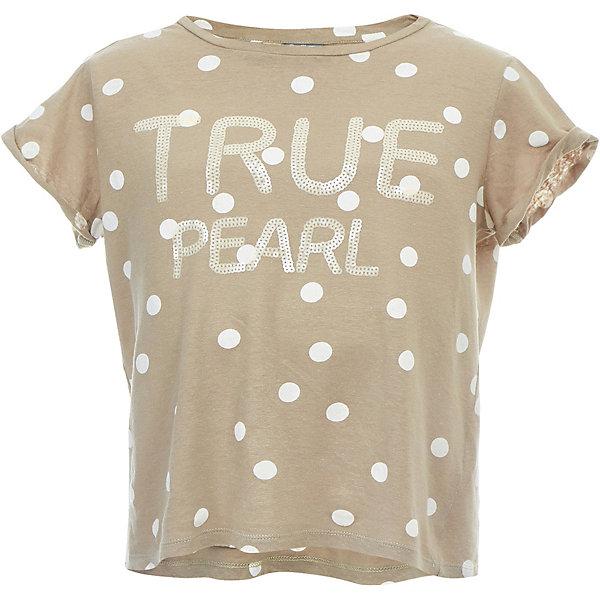 Футболка Gulliver для девочкиФутболки, поло и топы<br>Характеристики товара:<br><br>• цвет: бежевый;<br>• состав ткани: 95% хлопок, 5% эластан;<br>• сезон: лето;<br>• с коротким рукавом;<br>• округлый горловой вырез;<br>• футболка в горошек;<br>• футболка с надписью из пайеток;<br>• коллекция: Дюны;<br>• страна бренда: Россия.<br><br>Несравненный горошек, модный свободный силуэт, прекрасный трикотаж - прохладный и воздушный, оформление модели деликатными матовыми пайетками делают эту футболку утонченной и привлекательной. <br><br>Футболку Gulliver (Гулливер) можно купить в нашем интернет-магазине.<br>Ширина мм: 199; Глубина мм: 10; Высота мм: 161; Вес г: 151; Цвет: бежевый; Возраст от месяцев: 120; Возраст до месяцев: 132; Пол: Женский; Возраст: Детский; Размер: 146,164,158,152; SKU: 7790052;
