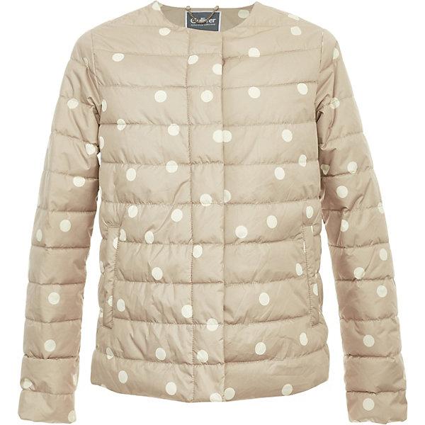Куртка Gulliver для девочкиВерхняя одежда<br>Характеристики товара:<br><br>• цвет: бежевый;<br>• состав ткани: 100% полиэстер;<br>• подкладка: 100% хлопок;<br>• утеплитель: 100% полиэстер;<br>• сезон: демисезон;<br>• температурный режим: от 0 до +10С;<br>• застёжка: кнопки;<br>• куртка без капюшона;<br>• стёганая куртка;<br>• куртка в горошек;<br>• два прорезных кармана;<br>• коллекция: Дюны;<br>• страна бренда: Россия.<br><br>Куртка для девочки должна быть стильной, элегантной и отражать в полной мере характер и предпочтения своей обладательницы! Именно такая, стеганая куртка в горошек без воротника может понравиться моднице. В прохладный весенний день или летний вечер, утепленная куртка сделает образ девочки модным и привлекательным! В ней вашему ребенку гарантирован прекрасный внешний вид и соответствие модным трендам, а также тепло, комфорт и свобода движений.<br><br>Куртку Gulliver (Гулливер) можно купить в нашем интернет-магазине.<br>Ширина мм: 356; Глубина мм: 10; Высота мм: 245; Вес г: 519; Цвет: бежевый; Возраст от месяцев: 120; Возраст до месяцев: 132; Пол: Женский; Возраст: Детский; Размер: 146,164,158,152; SKU: 7790092;