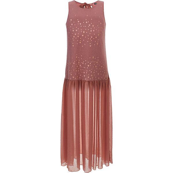 Платье Gulliver для девочкиОдежда<br>Характеристики товара:<br><br>• цвет: розовый;<br>• состав ткани: 95% хлопок, 5% эластан;<br>• без подкладки;<br>• застёжка: ленты-завязки сзади;<br>• платье без рукавов;<br>• длина: макси;<br>• длинное платье;<br>• двух фактурный материал;<br>• низ платья в складку;<br>• декорировано принтом;<br>• коллекция: Дюны;<br>• страна бренда: Россия.<br><br>Длинное розовое платье без рукавов выглядит очень интересно. Несмотря на отсутствие ярких отделок, это платье никогда не останется в тени. Прекрасная форма, модная длина в пол, сочетание двух фактур: мягкого трикотажа и легкого прозрачного текстиля на отлетной части юбки, деликатная отделка неконтрастным принтом, имитирующим матовые пайетки делают платье очень необычным и привлекательным. <br><br>Платье Gulliver (Гулливер) можно купить в нашем интернет-магазине.<br>Ширина мм: 236; Глубина мм: 16; Высота мм: 184; Вес г: 177; Цвет: розовый; Возраст от месяцев: 156; Возраст до месяцев: 168; Пол: Женский; Возраст: Детский; Размер: 164,146,158,152; SKU: 7790107;