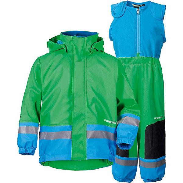 Костюм BOARDMAN DIDRIKSONS1913Верхняя одежда<br>Костюм BOARDMAN DIDRIKSONS1913 <br>Детский костюм из абсолютно водонепроницаемого мягкого полиуретана Galon на подкладке из флиса. Все швы пропаяны, что обеспечивает максимальную защиту от внешней влаги. Регулируемый съемный капюшон и пояс брюк. Резинки для ботинок. Фронтальная молния под планкой. Зона коленей усилена дополнительным слоем ткани. Светоотражатели. Ткань - износоустойчивая, за ней легко ухаживать (грязь легко удаляется с помощью влажной губки или ткани). Костюм незаменим в ненастную прохладную погоду. Ребёнок будет счастлив обмерить все лужи, залезть на все сугробы и прокатиться на грязных горках. При этом он останется сухим, а мама довольной!<br>Состав:<br>100% полиуретан, подкладка 100% полиэстер<br>Ширина мм: 356; Глубина мм: 10; Высота мм: 245; Вес г: 519; Цвет: бирюзовый; Возраст от месяцев: 5; Возраст до месяцев: 12; Пол: Унисекс; Возраст: Детский; Размер: 70,120,110,100,90,80; SKU: 7797216;
