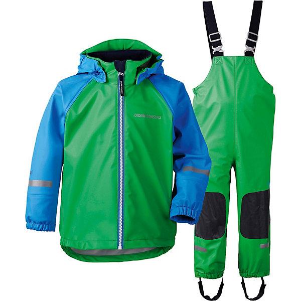 Непромокаемый комплект: куртка и полукомбинезон STORMMAN DIDRIKSONS1913Верхняя одежда<br>Характеристики товара:<br><br>• цвет: зеленый;<br>• внешняя ткань: Galon 100% полиуретан; <br>• подкладка: 100% полиэстер трикотаж;<br>• водонепроницаемость: 8000 мм.<br>• паропроводимость: 4000 г/м2/24ч <br>• температурный режим: от +10 С;<br>• сезон: демисезон;<br>• спецобработка внутренних поверхностей;<br>• полная защита  тела верхней и нижней  частей тела;<br>• 4-х-сторонний стретч, эластичный трикотаж;<br>Куртка: <br>• капюшон отстегивается с помощью кнопок;<br>• защита подбородка от защемления;<br>• манжеты на резинке, светоотражающие элементы;<br>Брюки: <br>• регулируемые лямки;<br>• подол штанин на резинке; <br>• регулируется кнопкой;<br>• трикотажные регулируемые штрипки;<br>• вставки из материала повышенной прочности;<br>• страна бренда: Швеция.<br><br>Водонепроницаемый (прорезиненный), ветронепродуваемый костюм «STORMMAN» от производителя DIDRIKSONS1913 выполнен из непромокаемого и не продуваемого запатентованного материала Galon (полиуретан), который тянется во всех направлениях и не сковывает движения ребенка. А модель STORMMAN дополнена прочными вставками в самых уязвимых местах, теперь ребенок не только не промокнет, но и не повредит комплект при активной эксплуатации. <br><br>Прорезиненная одежда - отличный вариант для игр на улице в дождь и слякоть и будет незаменим в ненастную погоду. Комплект можно носить как самостоятельную одежду при температуре от +10 до +20 градусов или использовать как защитную одежду, надевая поверх обычной верхней одежды в любую погоду. <br><br>Костюм «STORMMAN» от бренда DIDRIKSONS1913 (Дидриксон1913) можно купить в нашем интернет-магазине.<br>Ширина мм: 356; Глубина мм: 10; Высота мм: 245; Вес г: 519; Цвет: светло-зеленый; Возраст от месяцев: 12; Возраст до месяцев: 15; Пол: Унисекс; Возраст: Детский; Размер: 80,130,120,110,100,90; SKU: 7797414;