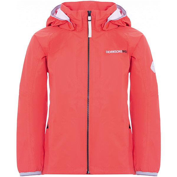 Куртка VIVID DIDRIKSONS1913 для девочкиВерхняя одежда<br>Характеристики товара:<br><br>• цвет: красный;<br>• внешняя ткань: 100% Полиэстер. Пропитка - DWR finish (без фторуглерода); <br>• подкладка: 100% полиэстер трикотаж;<br>• водонепроницаемость: 10000 мм.<br>• воздухонепроницаемость: 4000 г/м2/24ч <br>• температурный режим: от +10 до +20 С;<br>• сезон: демисезон;<br>• модель: спортивный стиль;<br>• капюшон несъемный, сварачивается в воротник;<br>• 4-х-сторонний стретч, эластичный трикотаж;<br>• светоотражающие элементы;<br>• защита подбородка от защемления;<br>• эластичные манжеты;<br>• страна бренда: Швеция.<br><br>Непродуваемая и непромокаемая куртка для девочки «VIVID» шведской марки Didriksons 1913 рассчитана на температурный режим от +10 градусов. Мембранная ткань с показателем водонепроницаемости 10000 мм и сетчатая подкладка позволят комфортно себя чувствовать при ветреной и дождливой погоде. Модель выполнена в спортивном стиле, прямого кроя с удобными глубокими карманами на молнии.<br><br>Все швы проклеены, внешняя поверхность ткани обработана дополнительной водоотталкивающей пропиткой, что обеспечивает максимальную защиту от внешней влаги. Фиксированный капюшон убирается в ворот под молнию. Концы рукавов - на резинке.  Внутренний карман с отверстием для МР3. <br><br>DIDRIKSONS 1913 (Швеция) - ведущий европейский производитель функциональной одежды для города, туризма, активного отдыха на природе и спорта. Непромокаемая одежда Didriksons очень проста в уходе. Загрязнения легко удаляются влажной губкой или под струей воды. <br><br>Куртку для девочки «VIVID» от бренда DIDRIKSONS1913 (Дидриксон1913) можно купить в нашем интернет-магазине.<br>Ширина мм: 356; Глубина мм: 10; Высота мм: 245; Вес г: 519; Цвет: оранжевый; Возраст от месяцев: 132; Возраст до месяцев: 144; Пол: Женский; Возраст: Детский; Размер: 150,140,130,170,160; SKU: 7797523;
