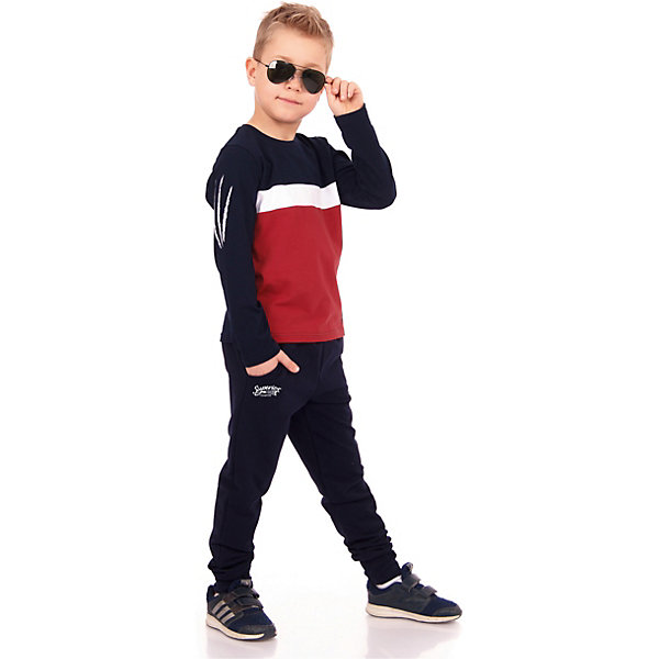 Брюки АпрельСпортивная одежда<br>Характеристики товара:<br><br>• цвет: синий<br>• состав ткани: 95% хлопок, 5% лайкра<br>• сезон: демисезон<br>• особенности модели: спортивный стиль<br>• на резинке<br>• страна бренда: Россия<br><br>Комфортные брюки для ребенка от бренда Апрель - универсальная вещь для детского гардероба. Такие детские брюки хорошо сочетаются с другой одеждой в молодежном стиле. Эта модель брюк для ребенка сделана из дышащей хлопковой ткани.<br><br>Брюки Апрель можно купить в нашем интернет-магазине.