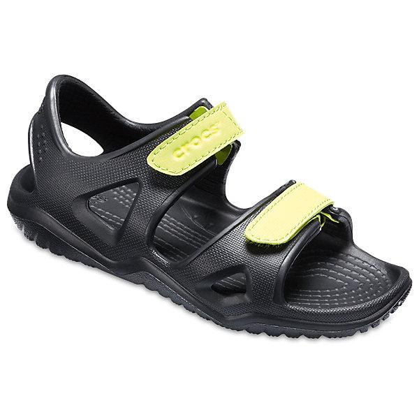 Сандалии  CROCS для мальчикаПляжная обувь<br>Характеристики товара:<br><br>• модель: Swiftwater River Sandal K<br>• цвет: черный;<br>• состав: 100% полимер Croslite™;<br>• сезон: лето;<br>• температурный режим: от +20;<br>• модель: открытые;<br>• застежка: ремешок на липучке;<br>• регулируемый объем;<br>• непромокаемые;<br>• рельефный рисунок подошвы;<br>• анатомические;<br>• светоотражающий логотип в области пятки;<br>• страна бренда: США<br><br>Сандалии от Crocs очаруют вашего ребенка с первого взгляда! Модель выполнена из полимера Croslite. Такие сандалии принесут комфорт и радость вашему ребенку.<br><br>Благодаря материалу Croslite обувь невероятно легкая, мягкая и удобная. Материал Croslite™ - это патентованная пена с закрытыми ячейками, обладающая удивительными свойствами. Она присутствует в каждой паре обуви Crocs™, придавая ей характерную упругость, неповторимый комфорт и ощущение свободы.<br><br>Под воздействием температуры тела обувь принимает форму стопы. Ремешок с застежкой-липучкой, оформленный фирменным логотипом, обеспечивает надежную фиксацию модели на ноге. Мысок на липучке позоляет регулировать нужные объем и ширину. Рельефная поверхность верхней части подошвы комфортна при движении. Рифленое основание подошвы гарантирует идеальное сцепление с любой поверхностью. <br><br>Открытые сандалии CROCS  (Крокс) можно купить в нашем интернет-магазине.<br>Ширина мм: 219; Глубина мм: 154; Высота мм: 121; Вес г: 343; Цвет: черный; Возраст от месяцев: 18; Возраст до месяцев: 21; Пол: Мужской; Возраст: Детский; Размер: 23,34/35,33/34,31/32,30/31,29/30,28/29,27/28,26,25,24; SKU: 7841356;