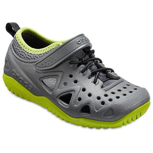 Кроссовки  CROCSКроссовки<br>Характеристики товара:<br><br>• модель: Swiftwater Play Shoe K<br>• цвет: серый/зеленый;<br>• состав: 90,3% полимер Croslite™, 9,7% текстиль (полиэстер);<br>• сезон: лето;<br>• температурный режим: от +20;<br>• модель: спортивный стиль;<br>• эластичная шнуровка;<br>• ремешок на липучке;<br>• петля на заднике для удобства надевания;<br>• вентилируемые;<br>• рельефный рисунок подошвы;<br>• анатомические;<br>• страна бренда: США<br><br>Яркие кроссовки от Crocs очаруют вашего ребенка с первого взгляда! Модель, выполненная из полимера Croslite. Материал Croslite - бактериостатичен, препятствует появлению неприятных запахов и легок в уходе: быстро сохнет и не оставляет следов на любых поверхностях. Рельефная поверхность верхней части подошвы комфортна при движении. <br><br>Кроссовки удобно сидят и надежно фиксируются на ноге. Выполнены в ярких розовых тонах, лыбимыми всеми девочками. Отличный вариант для теплой погоды!<br><br>Кроссовки CROCS  (Крокс) можно купить в нашем интернет-магазине.<br>Ширина мм: 250; Глубина мм: 150; Высота мм: 150; Вес г: 250; Цвет: серый; Возраст от месяцев: 18; Возраст до месяцев: 21; Пол: Унисекс; Возраст: Детский; Размер: 23,34/35,33/34,31/32,30/31,29/30,28/29,27/28,26,25,24; SKU: 7841392;