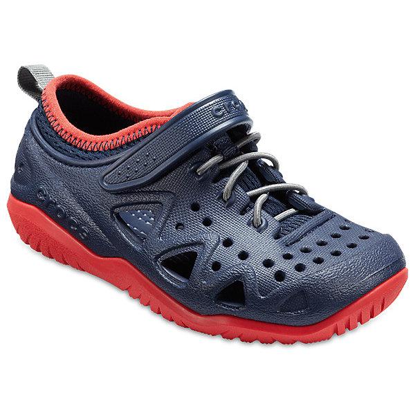 Кроссовки  CROCS для мальчикаПляжная обувь<br>Характеристики товара:<br><br>• модель: Swiftwater Play Shoe K<br>• цвет: синий/красный;<br>• состав: 90,3% полимер Croslite™, 9,7% текстиль (полиэстер);<br>• сезон: лето;<br>• температурный режим: от +20;<br>• модель: спортивный стиль;<br>• эластичная шнуровка;<br>• ремешок на липучке;<br>• петля на заднике для удобства надевания;<br>• вентилируемые;<br>• рельефный рисунок подошвы;<br>• анатомические;<br>• страна бренда: США<br><br>Яркие кроссовки от Crocs очаруют вашего ребенка с первого взгляда! Модель, выполненная из полимера Croslite. Материал Croslite™ - это патентованная пена с закрытыми ячейками, обладающая удивительными свойствами. Она присутствует в каждой паре обуви Crocs™, придавая ей характерную упругость, неповторимый комфорт и ощущение свободы.Рельефная поверхность верхней части подошвы комфортна при движении. <br><br>Кроссовки удобно сидят и надежно фиксируются на ноге. Выполнены в ярких розовых тонах, лыбимыми всеми девочками. Отличный вариант для теплой погоды!<br><br>Кроссовки CROCS  (Крокс) можно купить в нашем интернет-магазине.<br>Ширина мм: 250; Глубина мм: 150; Высота мм: 150; Вес г: 250; Цвет: темно-синий; Возраст от месяцев: 18; Возраст до месяцев: 21; Пол: Мужской; Возраст: Детский; Размер: 23,34/35,33/34,31/32,30/31,29/30,28/29,27/28,26,25,24; SKU: 7841404;