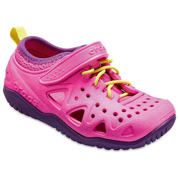 Кроссовки CROCS Swiftwater Play Shoe KКроссовки<br>Характеристики товара:<br><br>• модель: Swiftwater Play Shoe K<br>• цвет: розовый/фиолетовый;<br>• состав: 90,3% полимер Croslite™, 9,7% текстиль (полиэстер);<br>• сезон: лето;<br>• температурный режим: от +20;<br>• модель: спортивный стиль;<br>• эластичная шнуровка;<br>• ремешок на липучке;<br>• петля на заднике для удобства надевания;<br>• вентилируемые;<br>• рельефный рисунок подошвы;<br>• анатомические;<br>• страна бренда: США<br><br>Яркие кроссовки от Crocs очаруют вашего ребенка с первого взгляда! Модель, выполненная из полимера Croslite. Материал Croslite™ - это патентованная пена с закрытыми ячейками, обладающая удивительными свойствами. Она присутствует в каждой паре обуви Crocs™, придавая ей характерную упругость, неповторимый комфорт и ощущение свободы.Рельефная поверхность верхней части подошвы комфортна при движении. <br><br>Кроссовки удобно сидят и надежно фиксируются на ноге. Выполнены в ярких розовых тонах, лыбимыми всеми девочками. Отличный вариант для теплой погоды!<br><br>Кроссовки CROCS  (Крокс), розовые, можно купить в нашем интернет-магазине.