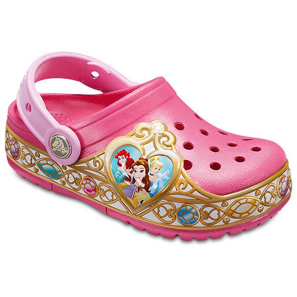 Сабо Disney Princess CROCS для девочкиПляжная обувь<br>Характеристики товара:<br><br>• цвет: розовый;<br>• состав: 100% полимер Croslite™;<br>• сезон: лето;<br>• температурный режим: от +20;<br>• модель: закрытые;<br>• яркий принт;<br>• застежка: пяточный ремешок;<br>• непромокаемые;<br>• вентилируемые;<br>• рельефный рисунок подошвы;<br>• анатомические;<br>• светоотражающий логотип в области пятки;<br>• страна бренда: США<br><br>Сабо Crocs  придутся по душе вашему ребенку, ведь они выполнены в яркой комбинации цветов с изображение принцесс из мультиков Диснея и красивой расписанной подошвой. Такие сабо не оставят никого равнодушным. <br><br>Модель полностью выполнена из полимерного материала. Съемный пяточный ремешок, оформленный названием бренда, предназначен для фиксации стопы при ходьбе. Рифление на подошве гарантирует идеальное сцепление с любой поверхностью. Такие сабо яркого розового цвета - отличное решение для каждодневного использования!<br><br>Благодаря материалу Croslite обувь невероятно легкая, мягкая и удобная. Материал Croslite - бактериостатичен, препятствует появлению неприятных запахов и легок в уходе: быстро сохнет и не оставляет следов на любых поверхностях. <br><br>Сабо Disney Princess CROCS  (Крокс) можно купить в нашем интернет-магазине.<br>Ширина мм: 225; Глубина мм: 139; Высота мм: 112; Вес г: 290; Цвет: розовый; Возраст от месяцев: 18; Возраст до месяцев: 21; Пол: Женский; Возраст: Детский; Размер: 31/32,30/31,29/30,28/29,27/28,26,25,24,33/34,23,34/35; SKU: 7841656;