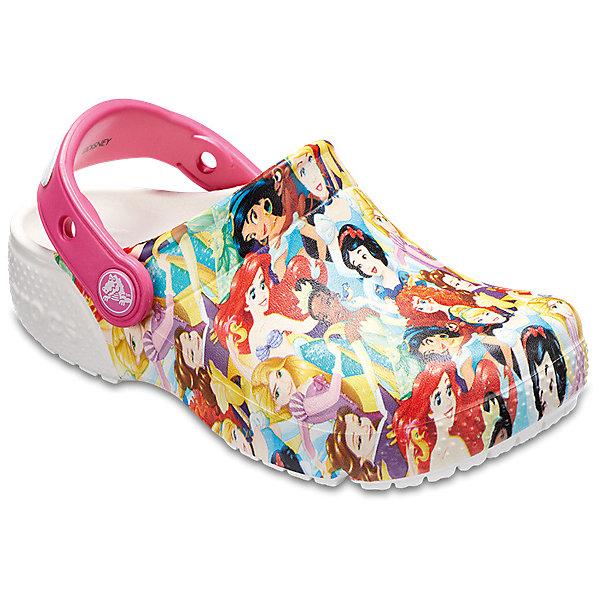 Сабо Disney Princess CROCS для девочкиПляжная обувь<br>Характеристики товара:<br><br>• цвет: белый;<br>• состав: 100% полимер Croslite™;<br>• сезон: лето;<br>• температурный режим: от +20;<br>• модель: закрытые;<br>• яркий принт;<br>• застежка: пяточный ремешок;<br>• непромокаемые;<br>• вентилируемые;<br>• рельефный рисунок подошвы;<br>• анатомические;<br>• светоотражающий логотип в области пятки;<br>• страна бренда: США<br><br>Сабо Crocs  придутся по душе вашему ребенку, ведь они выполнены в яркой комбинации цветов с изображение принцесс из мультиков Диснея. Такие качественные сабо не оставят никого равнодушным. <br><br>Модель полностью выполнена из полимерного материала. Съемный пяточный ремешок, оформленный названием бренда, предназначен для фиксации стопы при ходьбе. Рифление на подошве гарантирует идеальное сцепление с любой поверхностью. <br><br>Благодаря материалу Croslite обувь невероятно легкая, мягкая и удобная. Материал Croslite - бактериостатичен, препятствует появлению неприятных запахов и легок в уходе: быстро сохнет и не оставляет следов на любых поверхностях. <br><br>Сабо Disney Princess CROCS  (Крокс) можно купить в нашем интернет-магазине.<br>Ширина мм: 225; Глубина мм: 139; Высота мм: 112; Вес г: 290; Цвет: разноцветный; Возраст от месяцев: 96; Возраст до месяцев: 108; Пол: Женский; Возраст: Детский; Размер: 31/32,30/31,29/30,22,28/29,27/28,26,25,24,23,21,34/35,33/34; SKU: 7841668;