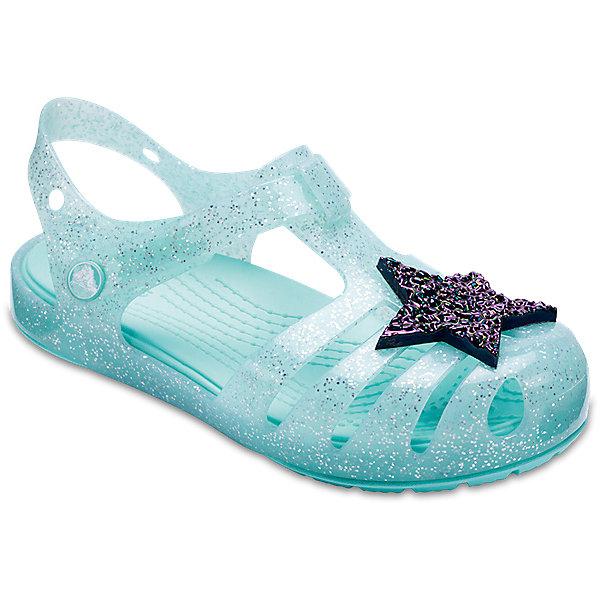 Сандалии  CROCS для девочкиПляжная обувь<br>Характеристики товара:<br><br>• модель: Crocs Isabella Novelty Sandal<br>• цвет: голубой;<br>• состав: 100% полимер Croslite™;<br>• сезон: лето;<br>• температурный режим: от +20;<br>• модель: закрытые;<br>• декоративная вставка на мыске;<br>• застежка: ремешок на липучке;<br>• непромокаемые;<br>• рельефный рисунок подошвы;<br>• анатомические;<br>• светоотражающий логотип в области пятки;<br>• страна бренда: США<br><br>Прелестные сандалии от Crocs очаруют вашего ребенка с первого взгляда! Модель выполнена в сиреневом цвете с красивым глянцевым эффектом, дополнены яркой декоративной вставкой на мыске. Такие сандалии принесут комфорт и радость вашему ребенку.<br><br>Благодаря материалу Croslite обувь невероятно легкая, мягкая и удобная. Материал Croslite™ - это патентованная пена с закрытыми ячейками, обладающая удивительными свойствами. Она присутствует в каждой паре обуви Crocs™, придавая ей характерную упругость, неповторимый комфорт и ощущение свободы.<br><br>Ремешок с застежкой-липучкой, оформленный фирменным логотипом, обеспечивает надежную фиксацию модели на ноге. Рифленое основание подошвы гарантирует идеальное сцепление с любой поверхностью. <br><br>Закрытые сандалии CROCS  (Крокс), голубые, можно купить в нашем интернет-магазине.<br>Ширина мм: 219; Глубина мм: 154; Высота мм: 121; Вес г: 343; Цвет: голубой; Возраст от месяцев: 24; Возраст до месяцев: 36; Пол: Женский; Возраст: Детский; Размер: 26,25,24,23,22,21,30/31,29/30,28/29,27/28; SKU: 7841735;