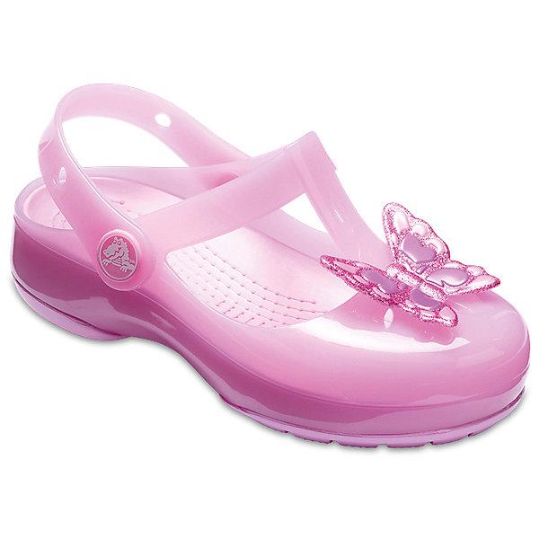 Сандалии  CROCS для девочкиПляжная обувь<br>Характеристики товара:<br><br>• модель: Crocs Isabella Emb Clog<br>• цвет: розовый;<br>• состав: 100% полимер Croslite™;<br>• сезон: лето;<br>• температурный режим: от +20;<br>• модель: закрытые;<br>• декоративная вставка на мыске;<br>• застежка: ремешок на липучке;<br>• непромокаемые;<br>• рельефный рисунок подошвы;<br>• анатомические;<br>• светоотражающий логотип в области пятки;<br>• страна бренда: США<br><br>Прелестные сандалии от Crocs очаруют вашего ребенка с первого взгляда! Модель выполнена в розовом цвете с красивым глянцевым эффектом, дополнены яркой декоративной вставкой в виде бабаочки на мыске. Такие сандалии принесут комфорт и радость вашему ребенку.<br><br>Благодаря материалу Croslite обувь невероятно легкая, мягкая и удобная. Материал Croslite - бактериостатичен, препятствует появлению неприятных запахов и легок в уходе: быстро сохнет и не оставляет следов на любых поверхностях. <br><br>Ремешок с застежкой-липучкой, оформленный фирменным логотипом, обеспечивает надежную фиксацию модели на ноге. Рифленое основание подошвы гарантирует идеальное сцепление с любой поверхностью. <br><br>Закрытые сандалии CROCS  (Крокс), розовые, можно купить в нашем интернет-магазине.<br>Ширина мм: 219; Глубина мм: 154; Высота мм: 121; Вес г: 343; Цвет: лиловый; Возраст от месяцев: 12; Возраст до месяцев: 15; Пол: Женский; Возраст: Детский; Размер: 21,30/31,29/30,28/29,27/28,26,25,24,23,22; SKU: 7841837;