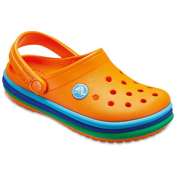 Сабо  CROCSПляжная обувь<br>Характеристики товара:<br><br>• модель: CB Rainbow Band Clog K<br>• цвет: оранжевый;<br>• состав: 100% полимер Croslite™;<br>• сезон: лето;<br>• температурный режим: от +20;<br>• модель: закрытые;<br>• застежка: пяточный ремешок;<br>• непромокаемые;<br>• вентилируемые;<br>• рельефный рисунок подошвы;<br>• анатомические;<br>• светоотражающий логотип в области пятки;<br>• страна бренда: США<br><br>Детские сабо Crocs  придутся по душе вашему ребенку. Модель полностью выполнена из полимерного материала оранжевого цвета с контрастной подошвой. Съемный пяточный ремешок, оформленный названием бренда, предназначен для фиксации стопы при ходьбе. Рифление на подошве гарантирует идеальное сцепление с любой поверхностью. Такие сабо яркого оранжевого цвета - отличное решение для каждодневного использования!<br><br>Благодаря материалу Croslite обувь невероятно легкая, мягкая и удобная. Материал Croslite - бактериостатичен, препятствует появлению неприятных запахов и легок в уходе: быстро сохнет и не оставляет следов на любых поверхностях. <br><br>Детские сабо CROCS  (Крокс), оранжевые, можно купить в нашем интернет-магазине.<br>Ширина мм: 225; Глубина мм: 139; Высота мм: 112; Вес г: 290; Цвет: оранжевый; Возраст от месяцев: 120; Возраст до месяцев: 132; Пол: Унисекс; Возраст: Детский; Размер: 34/35,33/34,31/32,30/31,29/30,28/29,27/28,26,25,24,23,22,21; SKU: 7841976;