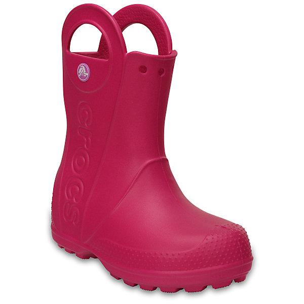 Резиновые сапоги  CROCS для девочкиРезиновые сапоги<br>Характеристики товара:<br><br>• модель: HandlItRainBoot<br>• цвет: розовый;<br>• состав: 100% полимер Croslite™;<br>• сезон: демисезон;<br>• температурный режим: от 0 до 20;<br>• застежка: нет;<br>• непромокаемые;<br>• защита мыса;<br>• подошва не скользит;<br>• анатомические;<br>• светоотражающий логотип в области пятки;<br>• страна бренда: США<br><br>Яркие непромокаемые сапоги сохранят ножки вашего ребенка теплыми и сухими. Невероятно легкие, мягкие и удобные благодаря материалу Croslite. 100% защита от влаги - полностью литая модель. Светоотражающий логотип в области пятки для безопасности в темное время суток. Благодаря ручкам-ушкам сапоги легко надевать и снимать. Контрастный логотип Crocs на боковой части. Отверстия в верхней части голенища для аксессуаров Jibbitz, которые позволят создать свой собственный неповторимый стиль.<br><br>Эти детские сапоги Крокс отлично подходят для ношения в мокрую погоду. Обувь Крокс популярна во всем мире благодаря высокому качеству и удобству. <br><br>Резиновые сапоги CROCS  (Крокс) можно купить в нашем интернет-магазине.<br>Ширина мм: 237; Глубина мм: 180; Высота мм: 152; Вес г: 438; Цвет: розовый; Возраст от месяцев: 18; Возраст до месяцев: 21; Пол: Женский; Возраст: Детский; Размер: 23,34/35,33/34,31/32,30,29,28,27,26,25,24; SKU: 7892167;