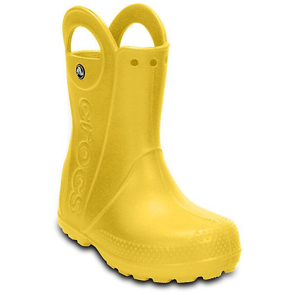 Резиновые сапоги  CROCSРезиновые сапоги<br>Характеристики товара:<br><br>• модель: HandlItRainBoot<br>• цвет: желтый;<br>• состав: 100% полимер Croslite™;<br>• сезон: демисезон;<br>• температурный режим: от 0 до 20;<br>• застежка: нет;<br>• непромокаемые;<br>• защита мыса;<br>• подошва не скользит;<br>• анатомические;<br>• светоотражающий логотип в области пятки;<br>• страна бренда: США<br><br>Яркие непромокаемые сапоги сохранят ножки вашего ребенка теплыми и сухими. Невероятно легкие, мягкие и удобные благодаря материалу Croslite. 100% защита от влаги - полностью литая модель. Светоотражающий логотип в области пятки для безопасности в темное время суток. Благодаря ручкам-ушкам сапоги легко надевать и снимать. Контрастный логотип Crocs на боковой части. Отверстия в верхней части голенища для аксессуаров Jibbitz, которые позволят создать свой собственный неповторимый стиль.<br><br>Эти детские сапоги Крокс отлично подходят для ношения в мокрую погоду. Обувь Крокс популярна во всем мире благодаря высокому качеству и удобству. <br><br>Резиновые сапоги CROCS  (Крокс), желтые, можно купить в нашем интернет-магазине.<br>Ширина мм: 237; Глубина мм: 180; Высота мм: 152; Вес г: 438; Цвет: желтый; Возраст от месяцев: 18; Возраст до месяцев: 21; Пол: Унисекс; Возраст: Детский; Размер: 23,34/35,33/34,31/32,30,29,28,27,26,25,24; SKU: 7892179;