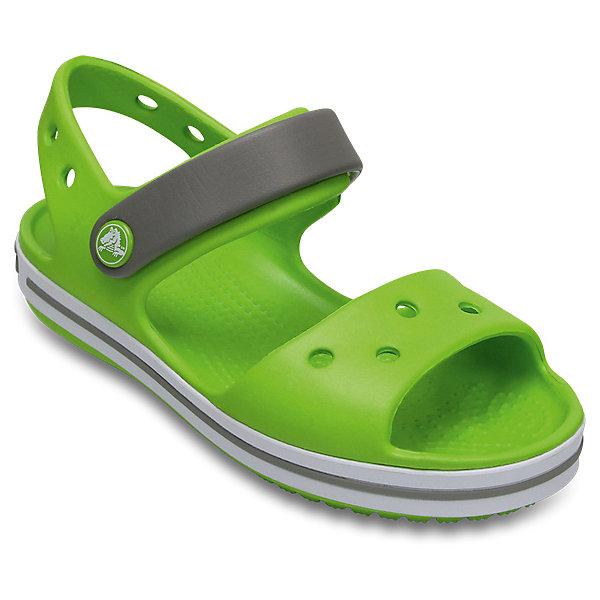 Сандалии  CROCSПляжная обувь<br>Характеристики товара:<br><br>• модель: Crocband Sandal K<br>• цвет: салатовый;<br>• состав: 100% полимер Croslite™;<br>• сезон: лето;<br>• температурный режим: от +20;<br>• модель: открытые;<br>• застежка: ремешок на липучке;<br>• непромокаемые;<br>• рельефный рисунок подошвы;<br>• анатомические;<br>• светоотражающий логотип в области пятки;<br>• страна бренда: США<br><br>Прелестные сандалии от Crocs очаруют вашего ребенка с первого взгляда! Модель выполнена из полимера Croslite и дополнена по периметру подошвы контрастной полоской. Такие сандалии принесут комфорт и радость вашему ребенку.<br><br>Благодаря материалу Croslite обувь невероятно легкая, мягкая и удобная. Материал Croslite - бактериостатичен, препятствует появлению неприятных запахов и легок в уходе: быстро сохнет и не оставляет следов на любых поверхностях. <br><br>Верх модели оформлен отверстиями, которые можно использовать для украшения джибитсами. Под воздействием температуры тела обувь принимает форму стопы. Ремешок с застежкой-липучкой, оформленный фирменным логотипом, обеспечивает надежную фиксацию модели на ноге. Рельефная поверхность верхней части подошвы комфортна при движении. Рифленое основание подошвы гарантирует идеальное сцепление с любой поверхностью. <br><br>Открытые сандалии CROCS  (Крокс)  можно купить в нашем интернет-магазине.<br>Ширина мм: 219; Глубина мм: 154; Высота мм: 121; Вес г: 343; Цвет: зеленый; Возраст от месяцев: 36; Возраст до месяцев: 48; Пол: Унисекс; Возраст: Детский; Размер: 27,26,25,24,23,22,21,30,34/35,33/34,31/32,29,28; SKU: 7892191;