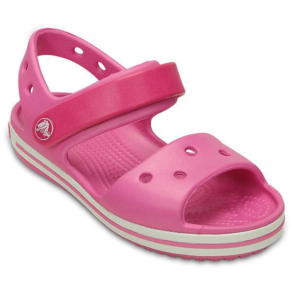 Сандалии  CROCS для девочкиПляжная обувь<br>Характеристики товара:<br><br>• модель: Crocband Sandal K<br>• цвет: малиновый;<br>• состав: 100% полимер Croslite™;<br>• сезон: лето;<br>• температурный режим: от +20;<br>• модель: открытые;<br>• застежка: ремешок на липучке;<br>• непромокаемые;<br>• рельефный рисунок подошвы;<br>• анатомические;<br>• светоотражающий логотип в области пятки;<br>• страна бренда: США<br><br>Прелестные сандалии от Crocs очаруют вашего ребенка с первого взгляда! Модель выполнена из полимера Croslite и дополнена по периметру подошвы контрастной полоской. Такие сандалии принесут комфорт и радость вашему ребенку.<br><br>Благодаря материалу Croslite обувь невероятно легкая, мягкая и удобная. Материал Croslite - бактериостатичен, препятствует появлению неприятных запахов и легок в уходе: быстро сохнет и не оставляет следов на любых поверхностях. <br><br>Верх модели оформлен отверстиями, которые можно использовать для украшения джибитсами. Под воздействием температуры тела обувь принимает форму стопы. Ремешок с застежкой-липучкой, оформленный фирменным логотипом, обеспечивает надежную фиксацию модели на ноге. Рельефная поверхность верхней части подошвы комфортна при движении. Рифленое основание подошвы гарантирует идеальное сцепление с любой поверхностью. <br><br>Открытые сандалии CROCS  (Крокс)  можно купить в нашем интернет-магазине.<br>Ширина мм: 219; Глубина мм: 154; Высота мм: 121; Вес г: 343; Цвет: розовый; Возраст от месяцев: 12; Возраст до месяцев: 15; Пол: Женский; Возраст: Детский; Размер: 21,34/35,33/34,31/32,30,29,28,27,26,25,24,23,22; SKU: 7892275;
