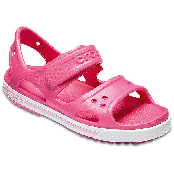 Сандалии  CROCS для девочкиПляжная обувь<br>Характеристики товара:<br><br>• модель: Crocband II Sandal PS<br>• цвет: розовый;<br>• состав: 100% полимер Croslite™;<br>• сезон: лето;<br>• температурный режим: от +20;<br>• модель: открытые;<br>• застежка: ремешок на липучке;<br>• непромокаемые;<br>• рельефный рисунок подошвы;<br>• анатомические;<br>• светоотражающий логотип в области пятки;<br>• страна бренда: США<br><br>Прелестные сандалии от Crocs очаруют вашего ребенка с первого взгляда! Модель выполнена из полимера Croslite и дополнена по периметру подошвы контрастной полоской. Такие сандалии принесут комфорт и радость вашему ребенку.<br><br>Благодаря материалу Croslite обувь невероятно легкая, мягкая и удобная. Материал Croslite - бактериостатичен, препятствует появлению неприятных запахов и легок в уходе: быстро сохнет и не оставляет следов на любых поверхностях. <br><br>Верх модели оформлен отверстиями, которые можно использовать для украшения джибитсами. Под воздействием температуры тела обувь принимает форму стопы. Ремешок с застежкой-липучкой, оформленный фирменным логотипом, обеспечивает надежную фиксацию модели на ноге. Рельефная поверхность верхней части подошвы комфортна при движении. Рифленое основание подошвы гарантирует идеальное сцепление с любой поверхностью. <br><br>Открытые сандалии CROCS  (Крокс) можно купить в нашем интернет-магазине.<br>Ширина мм: 219; Глубина мм: 154; Высота мм: 121; Вес г: 343; Цвет: розовый; Возраст от месяцев: 96; Возраст до месяцев: 108; Пол: Женский; Возраст: Детский; Размер: 31/32,30/31,29/30,28/29,27/28,26,25,24,23,22,21,34/35,33/34; SKU: 7892345;
