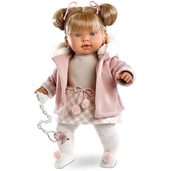 Кукла Llorens Джулия 42 см со звукомКуклы<br>Характеристики:<br><br>• тип игрушки: кукла;<br>• возраст: от 3 лет;<br>• материал: ПВХ, текстиль, полиэфирное волокно;<br>• цвет: бежевый;<br>• высота куклы: 42 см;<br>• вес: 1,2 кг;<br>• размер: 47х15х24 см;<br>• страна бренда: Испания;<br>• бренд: Llorens.<br><br>Кукла Llorens «Джулия» 42 см со звуком станет отличным подарком для любой девочки. Игрушка выполнена из приятного на ощупь материала, нарядно одета, умеет плакать и звать родителей. Благодаря детально прорисованным чертам она необычайно похожа на настоящего младенца.<br><br>Кукла «Джулия», как и её подружки из коллекции Llorens, сделана фантастически реалистично. У неё пухлые щёчки и губки, выразительные глазки и шелковистые золотые волосы, собранные в два высоких хвостика. Все черты лица проработаны очень тонко. Ваша дочка будет в восторге не только от внешнего вида, но и от стильного наряда своей малышки. Она одета в трикотажное платьице бежевого цвета с пояском, украшенным милыми помпонами. Если похолодает, Джулия не замёрзнет – на этот случай предусмотрена утеплённая розовая толстовка с капюшоном из искусственного меха. На ножках у куклы – плотные белые колготки. Все детали костюма идеально сочетаются между собой.<br><br>Но главный аксессуар Джулии – это очаровательная белая пустышка на цепочке, с помощью которой плачущая кроха успокаивается в мгновение ока. К тому же она умеет говорить главные для любого младенца слова – мама и папа. Благодаря специальной прищепке для одежды можно не беспокоиться, что соска потеряется.<br><br>Куклу Llorens «Джулия» 42 см со звуком можно купить в нашем интернет-магазине.<br>Ширина мм: 47; Глубина мм: 15; Высота мм: 24; Вес г: 1170; Возраст от месяцев: 36; Возраст до месяцев: 72; Пол: Женский; Возраст: Детский; SKU: 7905760;