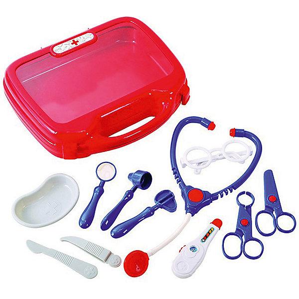 Игровой набор  доктора Playgo в чемоданчикеНаборы доктора и ветеринара<br>Характеристики:<br><br>• тип игрушки: набор;<br>• возраст: от 3 лет;<br>• материал: пластик;<br>•  комплектация: чемоданчик с ручкой - для удобства переноски, стетоскоп, градусник, шприц, очки, зеркальце и другие необходимые предметы для игры в доктора;<br>• вес: 500 гр;<br>• размер: 24х7х55 см;<br>• бренд: PlayGo.<br><br>Игровой набор  доктора Playgo в чемоданчике содержит все необходимое для увлекательной игры в доктора. Игрушка развивает воображение, словарный запас, логику, наблюдательность, образное мышление, координацию движений, мелкую моторику пальцев, терпение и заботу.<br><br>С этим замечательным набором ребенок сможет примерить на себя роль врача, почувствовать себя квалифицированным специалистом. Теперь все игрушки будут совершенно здоровы. Все элементы комплекта упакованы в чемоданчик с прозрачной крышечкой. В наборе 12 предметов: чемоданчик с ручкой - для удобства переноски, стетоскоп, градусник, шприц, очки, зеркальце и другие необходимые предметы для игры в доктора.<br><br>Игровой набор  доктора Playgo в чемоданчике можно купить в нашем интернет-магазине.<br>Ширина мм: 24; Глубина мм: 7; Высота мм: 55; Вес г: 500; Возраст от месяцев: 36; Возраст до месяцев: 72; Пол: Унисекс; Возраст: Детский; SKU: 7905800;