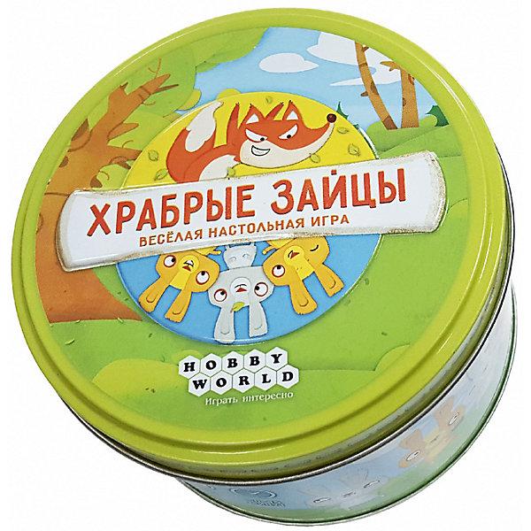 Hobby World 1591 Храбрые зайцыНастольные игры для всей семьи<br>Характеристики:<br><br>• тип игрушки: настольная игра;<br>• возраст: от 6 лет;<br>• материал: картон;<br>• комплектация:  60 карт;<br>• время игры: 30 мин;<br>• количество игроков: 2-6 человек;<br>• вес: 190 гр;<br>• размер: 10х10х6,5 см;<br>• тип упаковки: металлический контейнер;<br>• страна бренда: Россия;<br>• бренд: Hobby World.<br><br>Настольная игра Hobby World «Храбрые зайцы» от отечественного бренда Hobby World - это настольная игра для тех, кто хочет попробовать что-то новое. Игра рассчитана на компанию от двух до шести человек и главными героями которой являются зайцы и их злейшие враги - лисы. Храбрые зайцы - игра, которая подарит игрокам массу положительных эмоций.<br><br>Настольную игру Hobby World «Храбрые зайцы» можно купить в нашем интернет-магазине.<br>Ширина мм: 65; Глубина мм: 100; Высота мм: 100; Вес г: 190; Возраст от месяцев: 72; Возраст до месяцев: 2147483647; Пол: Унисекс; Возраст: Детский; SKU: 7906251;