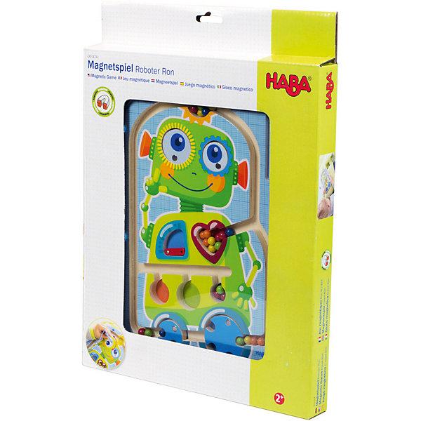 Игра HABA 301474 Робот РонНастольные игры для всей семьи<br>Характеристики:<br><br>• тип игрушки: настольная игра;<br>• возраст: от 2 лет;<br>• материал: картон, дерево;<br>• вес: 609 гр;<br>• размер: 36х26х3 см;<br>• бренд: Нава.<br><br>Игра Нава «Робот Рон» - чудесная игра с изображением дружелюбного робота, внутри которого находятся разноцветные шарики. Робот Рон очень любит когда эти шарики катаются. С помощью магнитного жезла, малышу предстоит переместить их в ячейки с цветами, рассортировав правильно или так как ему захочется. Но для этого нужно очень ловко провернуть колеса в нижней части робота. Игра надолго увлечет ребенка, и в процессе игры улучшит моторные навыки, сообразительность, ловкость и концентрацию.<br><br>Игру Нава «Робот Рон» можно купить в нашем интернет-магазине.<br>Ширина мм: 360; Глубина мм: 260; Высота мм: 30; Вес г: 609; Возраст от месяцев: 24; Возраст до месяцев: 2147483647; Пол: Унисекс; Возраст: Детский; SKU: 7906293;