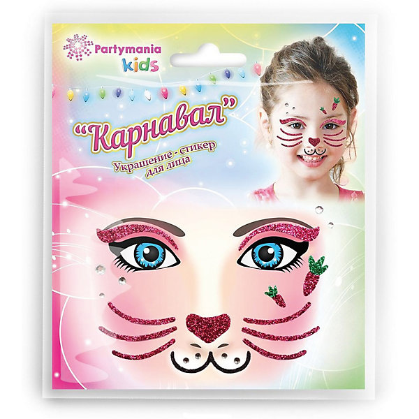Partymania Стикер для лица Partymania Карнавал, Заяц partymania маска морда дизайн 3