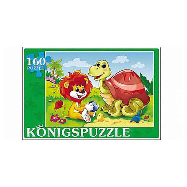 Пазл Konigspuzzle Черепаха и львенок 160 элементовПазлы классические<br>Характеристики товара:<br><br>• возраст: от 4 лет;<br>• количество деталей: 160 шт;<br>• материал: картон;<br>• размер упаковки: 29х19х4 см;<br>• размер картины: 34х24 см;<br>• вес упаковки: 400 гр.;<br>• страна бренда: Германия.<br><br>Пазл Konigspuzzle Черепаха и львенок – это отличный способ увлекательно провести досуг, снять стресс и развить моторику.<br>Каждая деталь имеет индивидуальную форму и легко соединяется с другой, поэтому у Вас обязательно получится ожидаемый результат.<br><br>Пазл Konigspuzzle Черепаха и львенок можно купить в нашем интернет-магазине.<br>Ширина мм: 525; Глубина мм: 300; Высота мм: 205; Вес г: 4000; Возраст от месяцев: 36; Возраст до месяцев: 2147483647; Пол: Унисекс; Возраст: Детский; SKU: 7910441;