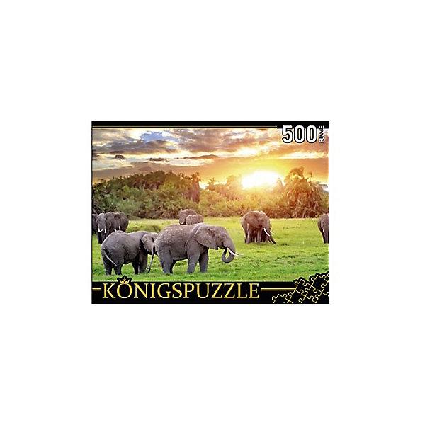 Konigspuzzle Пазл Konigspuzzle Кенийские слоны 500 элементов konigspuzzle пазл konigspuzzle озеро на закате 500 элементов