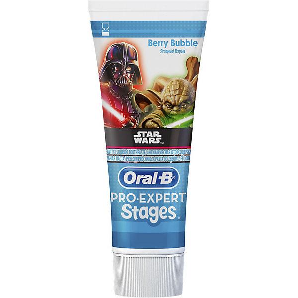 Детская зубная паста Oral-B Pro-Expert Stages Star Wars Ягодный Взрыв 75млДетская зубная паста<br>Характеристики:<br><br>• цвет: голубой;<br>• зубная паста для детей старше 3 лет;<br>• мятная формула;<br>• защита от кариеса;<br>• оформление: Звездные войны;<br>• зубная паста с минимальным содержанием фтора;<br>• вкус: Ягодный взрыв;<br>• объем: 75 мл.<br><br>Гигиена полости рта очень важна для человека в любом возрасте. Зубная паста Oral-B для детей Ягодный взрыв оформлена в стиле Star Wars. Фторсодержащая зубная паста содержится в тюбике с крышечкой. Используйте вместе с интерактивным приложением Disney Magic Timer от Oral-B, чтобы помочь своим детям чистить зубы рекомендованые стоматологом 2 минуты.<br><br>Детская зубная паста Oral-B Pro-Expert Stages Star Wars «Ягодный Взрыв» 75мл можно купить в нашем интернет-магазине.<br>Ширина мм: 53; Глубина мм: 35; Высота мм: 146; Вес г: 103; Цвет: голубой; Возраст от месяцев: 36; Возраст до месяцев: 72; Пол: Унисекс; Возраст: Детский; SKU: 7911662;