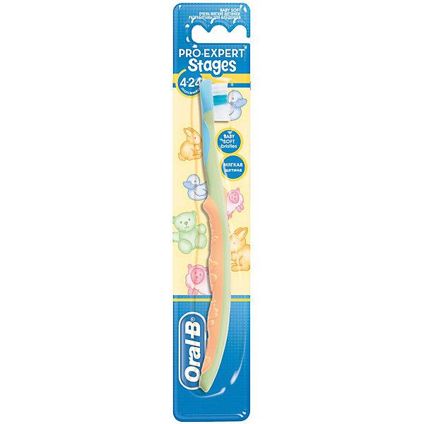 Детская зубная щетка Oral-B Stages  4-24 мес., светло-зеленыйЗубные щетки<br>Характеристики:<br><br>• зубная щетка разработана для детей от 4 до 24 месяцев;<br>• бережный уход за прорезавшимися зубами;<br>• очищение полости рта;<br>• массирование десен;<br>• ручка щетки для захвата взрослой рукой;<br>• оформление в стиле Дисней.<br><br>Детская зубная щетка Oral-B разработана для детей раннего возраста на этапе прорезывания у них первых зубиков. С первым появившимся зубиком пора начинать чистить зубы. Зубная щетка Stages 4-24 месяца бережно очищает и массирует зубки и десны маленького ребенка. <br><br>Детская зубная щетка Oral-B Stages 4-24 месяца можно купить в нашем интернет-магазине.<br>Ширина мм: 42; Глубина мм: 20; Высота мм: 228; Вес г: 19; Цвет: желтый; Возраст от месяцев: 4; Возраст до месяцев: 24; Пол: Мужской; Возраст: Детский; SKU: 7911666;