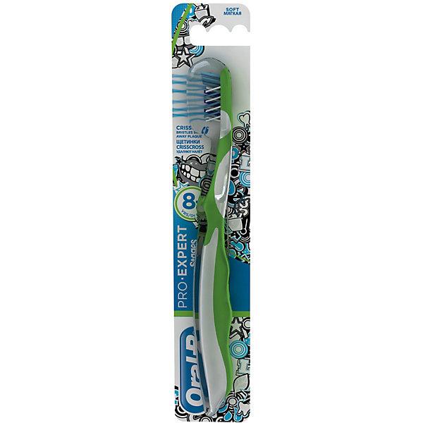 Детская зубная щетка Oral-B Stages от 8 лет, бело-зеленаяЗубные щетки<br>Характеристики:<br><br>• зубная щетка разработана для детей от 8 лет;<br>• мягкая головка и комбинированные щетинки;<br>• очищает труднодоступные задние зубы;<br>• оформление в стиле Дисней.<br><br>Детская зубная щетка Oral-B разработана для детей от 8 лет с первыми постоянными зубами и промежутками между зубами. Зубная щетка позволяет очищать зубы не только с одной стороны, но и достать задние зубы, охватывает и чистит каждый зуб. Зубная щетка оформлена в стиле Дисней. <br><br>Детская зубная щетка Oral-B Stages от 8 лет можно купить в нашем интернет-магазине.<br>Ширина мм: 42; Глубина мм: 21; Высота мм: 228; Вес г: 29; Цвет: зеленый; Возраст от месяцев: 96; Возраст до месяцев: 120; Пол: Унисекс; Возраст: Детский; SKU: 7911690;