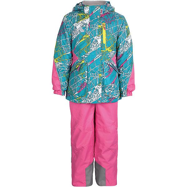 Комплект: куртка и брюки Лика OLDOS ACTIVE для девочкиВерхняя одежда<br>Характеристики товара:<br><br>• цвет: бирюзовый/розовый;<br>• внешняя ткань: 100% полиэстер, покрытие TEFLON, мембрана; <br>• подкладка - Куртка: флис, 100% полиэстер; Брюки: ворсовое полотно гладкой стороной к телу (100% полиэстер); <br>• подстежка: нет; <br>• утеплитель: Куртка: HOLLOFAN PRO 100 г/м2; Брюки: без утеплителя;<br>• сезон: демисезон;<br>• температурный режим: от -5 до +10;<br>• водонепроницаемость: 3000 мм ;<br>• паропроницаемость: 3000 г/м2/24ч;<br>• застежка: молния YKK;<br>• съёмный капюшон на кнопках;<br>• защита подбородка;<br>• внутренняя ветрозащитная планка;<br>• эластичные манжеты на рукавах с доп. регулировкой (липучка);<br>• два кармана на молнии (куртка);<br>• внутренняя этикетка с местом для имени;<br>• эластичная резинка по талии;<br>• внутренний карман на липучке с нашивкой-потеряшкой;<br>• два кармана на молнии (брюки);<br>• регулируемый объем по талии;<br>• эластичные лямки с регулировкой длины;<br>• эластичная резинка на талии брюк;<br>• светоотражающие элементы;<br>• страна бренда: Россия.<br><br>Яркий и многофунциональный комплект: куртка и брюки «Лика» для девочки из мембранной коллекции OLDOS ACTIVE - отличный вариант для активных прогулок в межсезонье. Верхняя ткань с мембраной 3000/3000 обеспечивает водонепроницаемость, при этом одежда дышит. Покрытие TEFLON повышает износостойкость, а так же облегчает уход за костюмом.  <br><br>Функционал продуман до мелочей - в куртке: капюшон, который отстегивается при необходимости, двойная ветрозащитная планка, манжеты на резинке, карманы на молнии, внутренний карман с нашивкой-потеряшкой, который застегивается на липучку; в брюках: объем талии регулируется,   съемные регулируемые по длине лямки, карманы на молнии, ветрозащитная муфта с антискользящей резинкой, усиления по низу брюк в местах особого износа. Наличие светоотражающих элементов<br><br>Образ очень нежный, яркие цвета и нескучный принт - то что нужно весной!