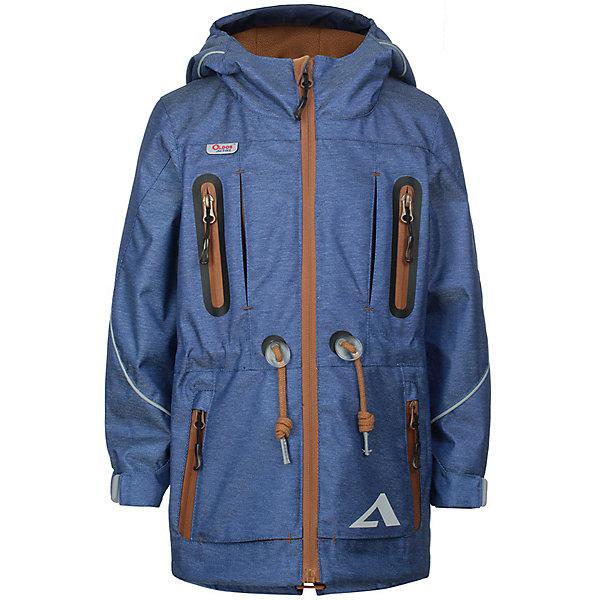 Куртка Эрагон OLDOS ACTIVE для мальчикаВерхняя одежда<br>Характеристики товара:<br><br>• цвет: синий;<br>• внешняя ткань: 100% полиэстер, покрытие TEFLON, мембрана; <br>• подкладка: флис, 100% полиэстер;<br>• сезон: демисезон;<br>• температурный режим: от +10 до +20;<br>• водонепроницаемость: 3000 мм ;<br>• паропроницаемость: 3000 г/м2/24ч;<br>• застежка: на молнии;<br>• двойная ветрозащитная планка по всей длине молнии с защитой подбородка<br>• съемный капюшон, внутренняя резинка по краям для лучшего прилегания<br>• воротник-стойка с мягкой флисовой подкладкой<br>• резинка сзади по талии <br>• манжеты на резинке регулируемые липучкой<br>• 2 накладных кармана на кнопках снизу и на 2 кармана молнии вверху, внутренний карман на липучке<br>• нашивка-потеряшка<br>• светоотражающие элементы<br>• страна бренда: Россия.<br><br>Утепленная куртка-парка «Эрагон» для мальчика из мембранной коллекции Росийсского производителя OLDOS ACTIVE - отличный вариант для активных прогулок в межсезонье.  Выполнена в оригинальном цвете с эффектом джинсы, дополнена контрастной молнией и нашивками, хорошо сидит по фигуре и сочетается с различной одеждой и обувью.<br><br>Верхняя ткань с мембраной 3000/3000 обеспечивает водонепроницаемость, при этом ветровка дышит. Покрытие TEFLON повышает износостойкость, а так же облегчает уход за ветровкой. Подкладка - флис, в области груди и спины, плотный полиэстер в рукавах. <br><br>Такая ветровка прекрасно защитит от непогоды благодаря продуманному функционалу: капюшону с внутренней резинкой по краям для лучшего прилегания, ветрозащитной планке по всей длине молнии с защитой подбородка, манжетам на резинке с клином, который регулируется липучкой и внешней регулировке по талии. Ветровка оснащена карманами на молнии и светоотражающими элементами. Внутри ветровки есть потайной карман, который застегивается на липучку и нашивка-потеряшка. <br><br>Утепленную куртку-парку для мальчика «Эрагон» от бренда OLDOS ACTIVE (Олдос Актив) можно купить в нашем интернет