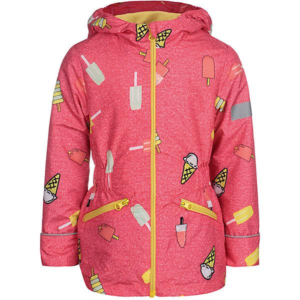 Куртка Леди JICCO BY OLDOS для девочкиВерхняя одежда<br>Характеристики товара:<br><br>• цвет: коралловый;<br>• внешняя ткань: 100% полиэстер, покрытие TEFLON; <br>• подкладка: флис, 100% полиэстер;<br>• сезон: демисезон;<br>• температурный режим: от +10 до +20;<br>• застежка: на молнии;<br>• съемный капюшон, внутренняя резинка по краям для лучшего прилегания<br>• внутренняя ветрозащитная планка с защитой подбородка от прищемления;<br>• резинка сзади по талии <br>• манжеты прымые;<br>• 2 боковых кармана;<br>• нашивка-потеряшка;<br>• светоотражающие элементы;<br>• страна бренда: Россия.<br><br>Легкая куртка-ветровка «Леди» для девочки  от Росийсского производителя JICCO BY OLDOS- отличный вариант для активных прогулок.  Оригинальный принт и  яркая комбинации цветов обязательно понравится вашей юной модницеи не останется  незамечанной окружающими. Стильная куртка хорошо сидит по фигуре и сочетается с различной одеждой и обувью.<br><br>Внешняя ткань с водо-грязеотталкивающей пропиткой защищает от ветра и дождя. Подкладка флис, в рукавах - ворсовое полотно гладкой стороной к телу. Капюшон с внутренней резинкой по краям для лучшего прилегания; в манжеты прямые; есть карманы и регулируемая утяжка по низу куртки. Снабжена светоотражающими элементами. <br><br>Куртку-ветровку для девочки «Леди» от бренда JICCO BY OLDOS (Жико бай Олдос) можно купить в нашем интернет-магазине.