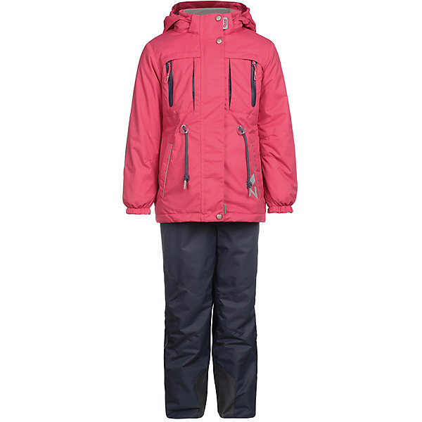 Комплект: куртка и брюки Киана OLDOS ACTIVE для девочкиВерхняя одежда<br>Характеристики товара:<br><br>• цвет: розовый/серый;<br>• внешняя ткань: 100% полиэстер, покрытие TEFLON, мембрана; <br>• подкладка - Куртка: флис, 100% полиэстер; Брюки: ворсовое полотно (100% полиэстер);<br>• сезон: демисезон;<br>• температурный режим: от -5 до +10;<br>Куртка:<br>• Куртка утепленная на молнии;<br>• Двойная ветрозащитная планка с защитой подбородка;<br>• Съемный капюшон, внутренняя резинка по краям для лучшего прилегания;<br>• Воротник-стойка с мягкой флисовой подкладкой;<br>• Манжеты на резинке;<br>• Карманы на молнии;<br>• Внутренняя утяжка по талии;<br>• Внутренний карман, нашивка-потеряшка;<br>Брюки:<br>• Брюки без утеплителя, с подкладкой из ворсового полотна, гладкой стороной к телу;<br>• Застежка на молнию и кнопку;<br>• Резинка по талии, пояс с внутренней регулировкой объема талии;<br>• Эластичные, широкие, съемные лямки, регулируемые по длине;<br>• Карманы;<br>• Усиления внизу брючин в местах особенного износа;<br>• Ветрозащитная муфта с антискользящей резинкой;<br>• Светоотражающие элементы; <br>• страна бренда: Россия.<br><br>Красивый и технологичный весенне-осенний костюм для девочки «Киана» в ярких цветах из мембранной коллекции OLDOS ACTIVE состоит из куртки и брюк. Верхняя ткань с мембраной 3000/3000 обеспечивает водонепроницаемость, при этом одежда дышит. Покрытие TEFLON повышает износостойкость, а так же облегчает уход за костюмом. <br><br>Функционал продуман до мелочей - в куртке: капюшон, который отстегивается при необходимости, двойная ветрозащитная планка, манжеты на резинке, внешняя регулировка на х/б шнур по талии, карманы на молнии, внутренний карман, который застегивается на липучку с нашивкой-потеряшкой; в брюках: объем талии регулируется,  съемные регулируемые по длине лямки, карманы на молнии, ветрозащитная муфта с антискользящей резинкой, усиления по низу брюк в местах особого износа.<br><br>Комплект: куртку и брюки для девочки «Киана» от бренда OL