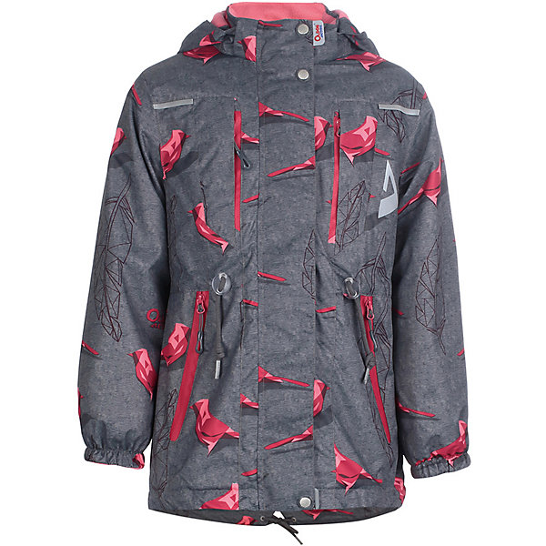 Куртка Рэйна OLDOS ACTIVE для девочкиВерхняя одежда<br>Характеристики товара:<br><br>• цвет: серый/принт;<br>• внешняя ткань: 100% полиэстер, покрытие TEFLON, мембрана; <br>• подкладка: флис, 100% полиэстер;<br>• сезон: демисезон;<br>• температурный режим: от +10 до +20;<br>• водонепроницаемость: 3000 мм ;<br>• паропроницаемость: 3000 г/м2/24ч;<br>• застежка: на молнии;<br>• двойная ветрозащитная планка по всей длине молнии с защитой подбородка<br>• съемный капюшон, внутренняя резинка по краям для лучшего прилегания<br>• воротник-стойка с мягкой флисовой подкладкой<br>• резинка сзади по талии <br>• манжеты на резинке регулируемые липучкой<br>• 2 накладных кармана на кнопках снизу и на 2 кармана молнии вверху, внутренний карман на липучке<br>• нашивка-потеряшка<br>• светоотражающие элементы<br>• страна бренда: Россия.<br><br>Утепленная куртка-парка «Рэйна» для девочки из мембранной коллекции Росийсского производителя OLDOS ACTIVE - отличный вариант для активных прогулок в межсезонье.  Выполнена в практичном сером цвете с веселым контрастным принтом, хорошо сидит по фигуре и сочетается с различной одеждой и обувью.<br><br>Верхняя ткань с мембраной 3000/3000 обеспечивает водонепроницаемость, при этом ветровка дышит. Покрытие TEFLON повышает износостойкость, а так же облегчает уход за ветровкой. Подкладка - флис, в области груди и спины, плотный полиэстер в рукавах. <br><br>Такая ветровка прекрасно защитит от непогоды благодаря продуманному функционалу: капюшону с внутренней резинкой по краям для лучшего прилегания, ветрозащитной планке по всей длине молнии с защитой подбородка, манжетам на резинке с клином, который регулируется липучкой и внешней регулировке по талии. Ветровка оснащена карманами на молнии и светоотражающими элементами. Внутри куртки есть потайной карман, который застегивается на липучку и нашивка-потеряшка. <br><br>Утепленную куртку-парку «Рэйна» для девочки  от бренда OLDOS ACTIVE (Олдос Актив) можно купить в нашем интернет-магазине.<br>Ширина мм: 356