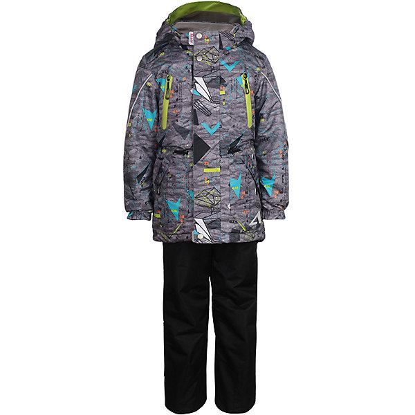 Комплект: куртка и брюки Магнус OLDOS ACTIVE для мальчикаВерхняя одежда<br>Характеристики товара:<br><br>• цвет: серый/черный;<br>• внешняя ткань: 100% полиэстер, покрытие TEFLON, мембрана;<br>• подкладка - Куртка: флис, 100% полиэстер; Брюки: ворсовое полотно гладкой стороной к телу (100% полиэстер);<br>• сезон: демисезон;<br>• температурный режим: от -5 до +10;<br>Куртка:<br>• Куртка утепленная на молнии;<br>• Двойная ветрозащитная планка с защитой подбородка;<br>• Съемный капюшон, внутренняя резинка по краям для лучшего прилегания;<br>• Воротник-стойка с мягкой флисовой подкладкой;<br>• Манжеты на резинке;<br>• Резинка по талии;<br>• Накладные карманы с клапаном, карманы на молнии;<br>• Внутренний карман, нашивка-потеряшка;<br>• Светоотражающие элементы;<br>Брюки:<br>• Брюки без утеплителя, с подкладкой из ворсового полотна, гладкой стороной к телу;<br>• Застежка на молнию и кнопку;<br>• Резинка по талии, пояс с внутренней регулировкой объема талии;<br>• Эластичные, широкие, съемные лямки, регулируемые по длине;<br>• Карманы на молнии;<br>• Усиления внизу брючин в местах особенного износа;<br>• Ветрозащитная муфта с антискользящей резинкой;<br>• Светоотражающие элементы;<br>• страна бренда: Россия.<br><br>В непромокаемом костюме из плотной мембранной ткани с водо- грязеотталкивающим покрытием из весенней коллекции OLDOS ACTIVE Ваш малыш может смело кататься на скейте, велосипеде и роликах, не боясь промокнуть или испачкаться! Костюм предназначен для носки в непогоду и поможет сохранить тепло и комфорт при температуре до -5 С. В качестве утеплителя в куртке использован холлофан, так же дополнительное тепло придает флисовая подкладка в области груди и спины. Мембранная ткань верха обеспечивает эффективное отведение влаги изнутри, а специальное покрытие Teflon облегчает уход за изделием. Для удобной и надежной посадки брюк предусмотрены широкие регулируемые по росту съёмные бретели, внутренняя регулировка по талии и вшитая резинка на поясе.