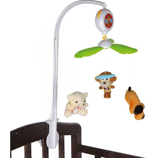 Мобиль на кроватку Yako ToysИгрушки для новорожденных<br>Характеристики:<br><br>• тип игрушки: мобиль на кроватку;<br>• возраст: от 0 лет;<br>• материал: пластик, текстиль, наполнитель;<br>• цвет: белый; <br>• комплект: 3 игрушки, мобиль;<br>• наличие батареек: в комплект не входят;<br>• вес: 833 гр;<br>• размер: 8х27х38 см;<br>• бренд: Yako.<br><br>Мобиль на кроватку Yako c мягкими подвесными игрушками развлечет малыша, а так же поможет ему уснуть. Заводится подвеска с помощью специального механизма, после чего она начинает движение и воспроизводит приятную колыбельную. Благодаря удобному креплению данный мобиль можно установить на любой тип кроваток. На концах подвески висят милые фигурки, которые смогут привлечь к себе особое внимание ребенка.  Мобиль на кроватку представляет собой яркую вращающуюся карусель с разными мягкими подвесками.<br><br>Мобиль на кроватку Yako можно купить в нашем интернет-магазине.<br>Ширина мм: 80; Глубина мм: 270; Высота мм: 380; Вес г: 833; Цвет: разноцветный; Возраст от месяцев: 0; Возраст до месяцев: 144; Пол: Унисекс; Возраст: Детский; SKU: 7920754;