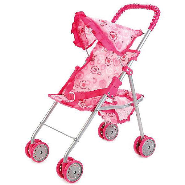 КАРАПУЗ Коляска для кукол Карапуз с корзиной и ремнем безопасности, розовая
