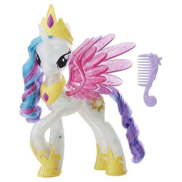 Интерактивная фигурка My little Pony Принцесса СелестияИнтерактивные животные<br>Характеристики:<br><br>• возраст: от 3 лет;<br>• материал: пластик;<br>• в наборе: фигура, тиара, ожерелье, расческа, инструкция;<br>• тип батареек: 3х1,5 V;<br>• наличие батареек: в комплекте;<br>• вес упаковки: 593 гр.;<br>• размер упаковки: 8,1х27,9х25,4 см;<br>• страна бренда: США.<br><br>Интерактивная игрушка Hasbro My Little Pony «Принцесса Селестия» сияет разными цветами, если нажать на ее солнечную метку. У фигурки длинная грива и хвост, которые можно расчесывать, на голову и шею одеваются украшения для особенного случая.<br><br>На крыльях пони нанесены блестки, а копытца украшены золотыми узорами. Набор выполнен из качественных безопасных материалов.<br><br>Интерактивную игрушку «Принцесса Селестия», My Little Pony, Hasbro можно купить в нашем интернет-магазине.<br>Ширина мм: 81; Глубина мм: 279; Высота мм: 254; Вес г: 593; Возраст от месяцев: 36; Возраст до месяцев: 2147483647; Пол: Женский; Возраст: Детский; SKU: 7922870;